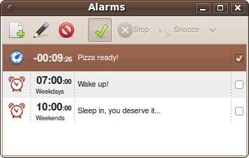 Alarms list