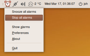 Alarm Clock menu