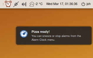 Alarm notification bubble